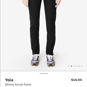New figs yola skinny black scrub pants